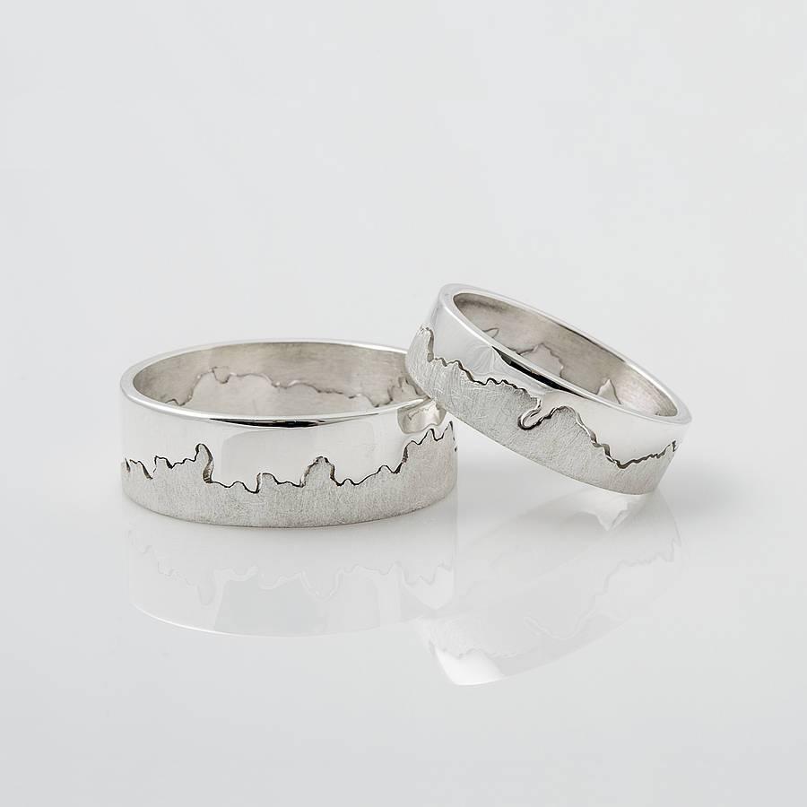 Personalised Silver Coastline Map Ringhannah Louise Lamb Regarding Etched Wedding Rings (View 9 of 15)