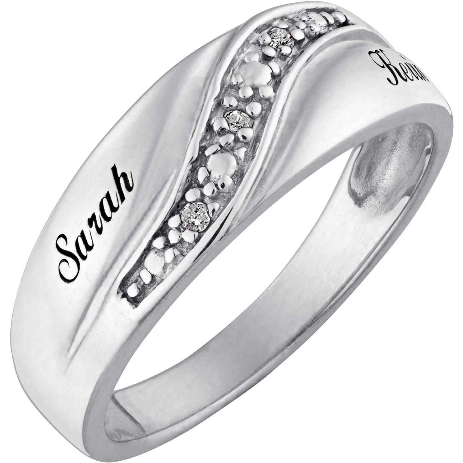 Personalized Sterling Silver Mens Diamond Accent Name Wedding Band In Walmart Wedding Bands For Men (View 6 of 15)