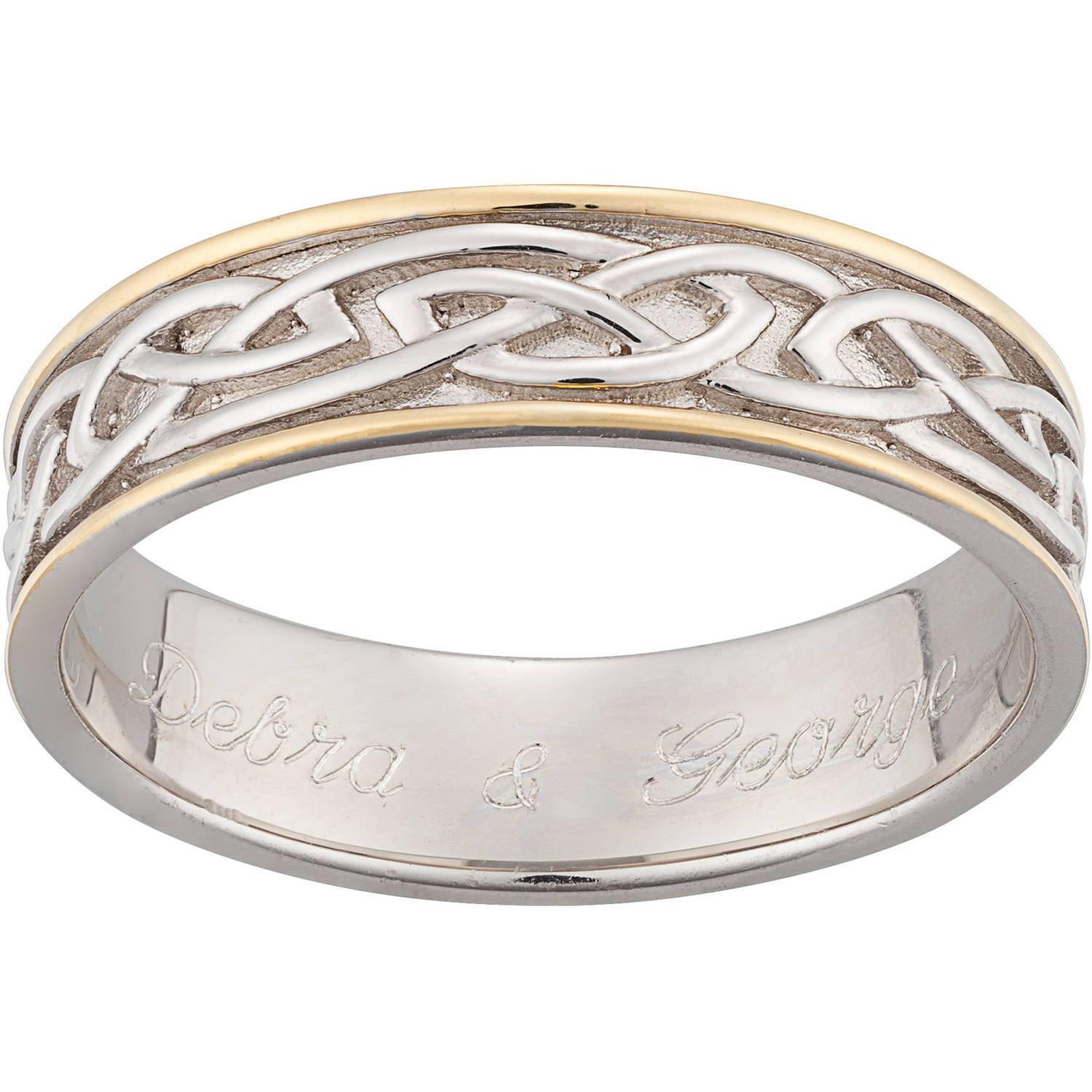 Personalized Sterling Silver Two Tone Engraved Celtic 6.5Mm Inside Engravable Men's Wedding Bands (Gallery 11 of 15)