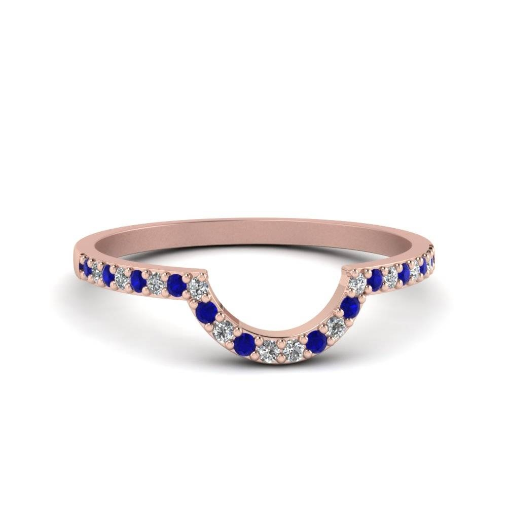 Petite Curved Diamond Wedding Band With Blue Sapphire In 14K Rose With Curved Wedding Bands For Women (View 12 of 15)