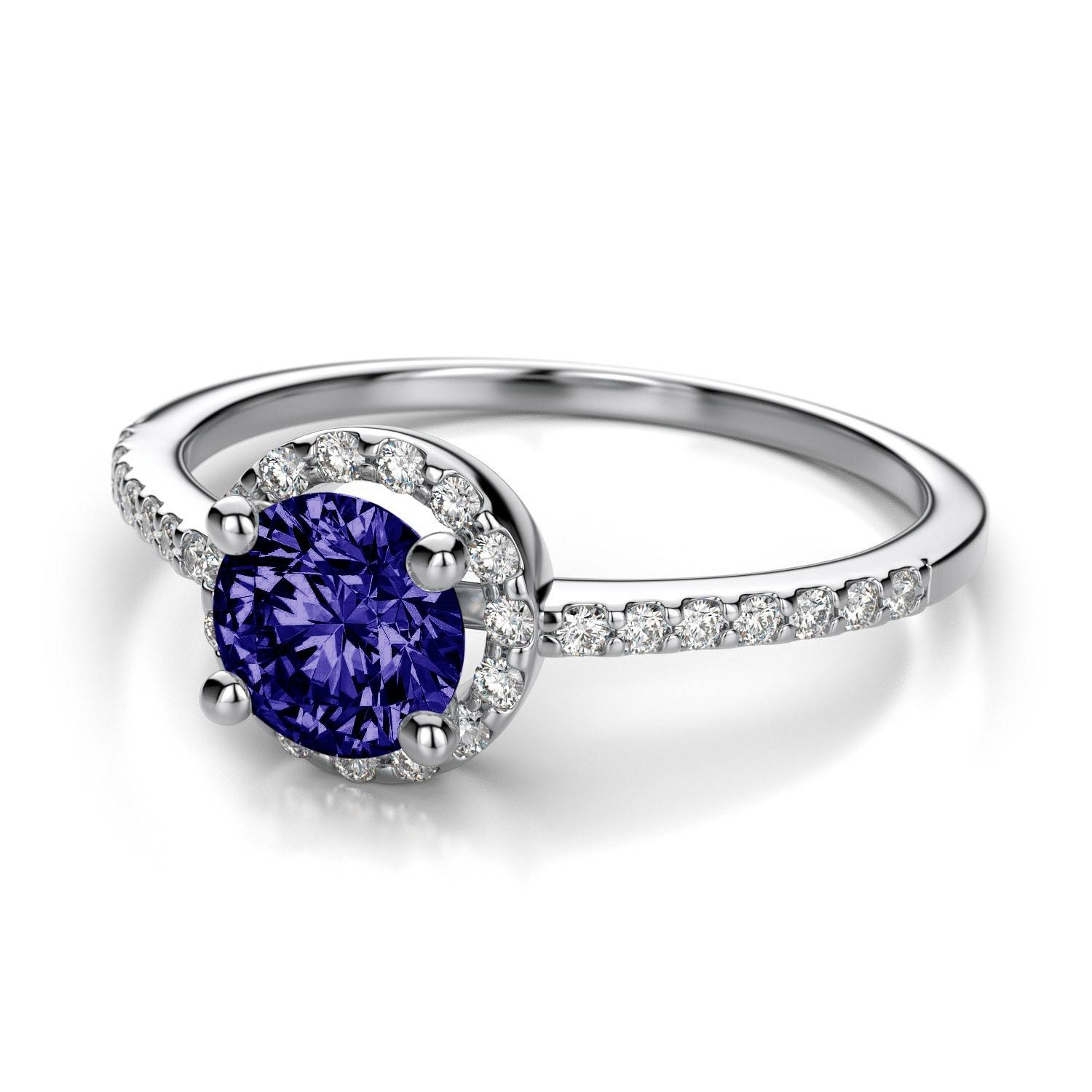 Petite Tanzanite Ring With Halo Diamond Side Stones In 18K White Gold With Engagement Rings Tanzanite (Gallery 5 of 15)