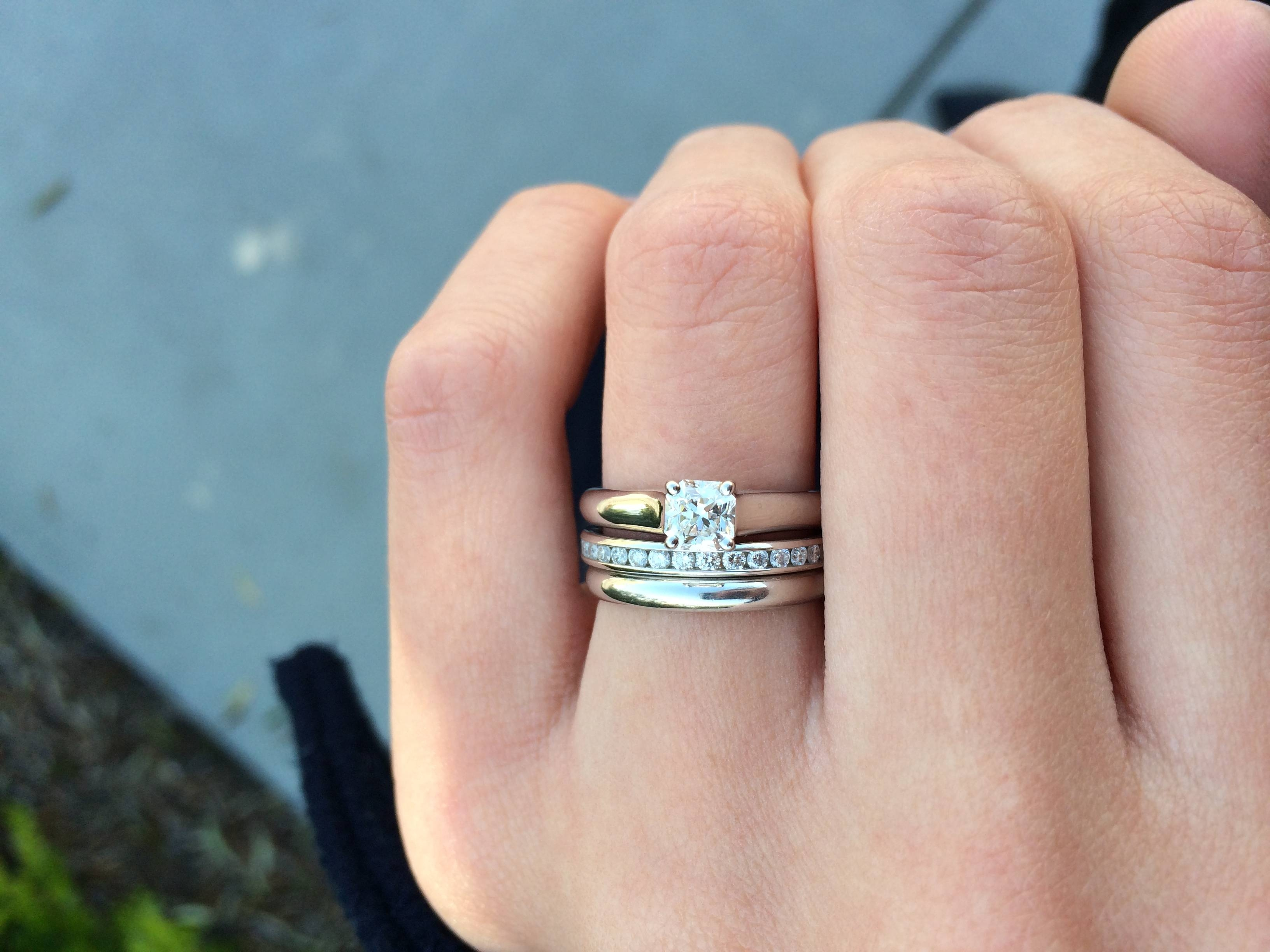 Pic Request – Solitaire E Ring, Plain Wedder & Diamond Eternity In Eternity Band Wedding Rings (View 11 of 15)