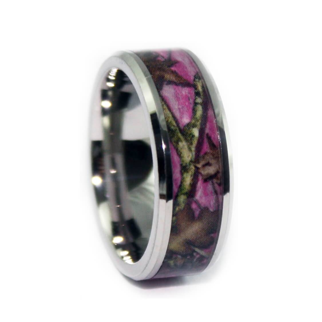 Pink Camo Wedding Rings – Bevel Titanium Band#1 Camo With Regard To Mens Camouflage Wedding Bands (Gallery 14 of 15)