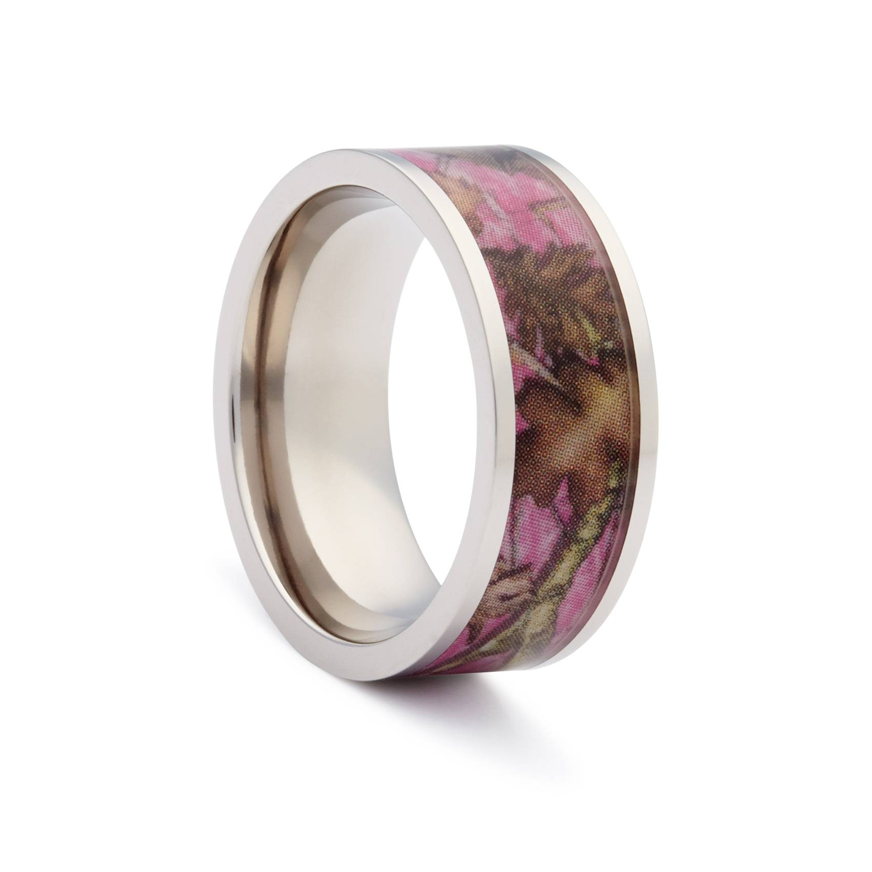 Pink Camo Wedding Rings – Flat Titanium Camouflage Band#1 Camo For Titanium Camo Wedding Rings (View 12 of 15)