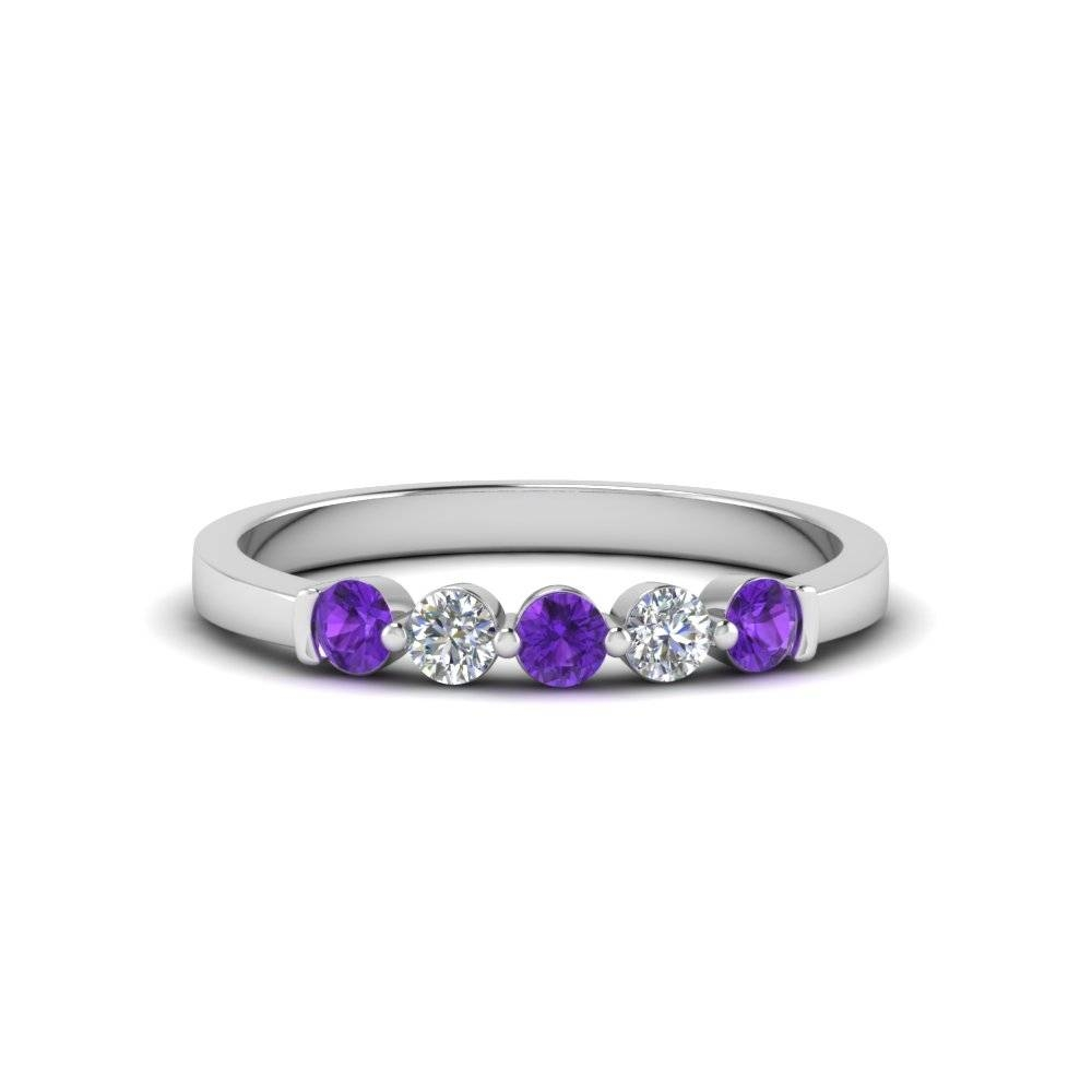 Pink Sapphire And Diamond Heart Shaped Eternity Wedding Band Pertaining To Purple Wedding Bands (Gallery 20 of 20)