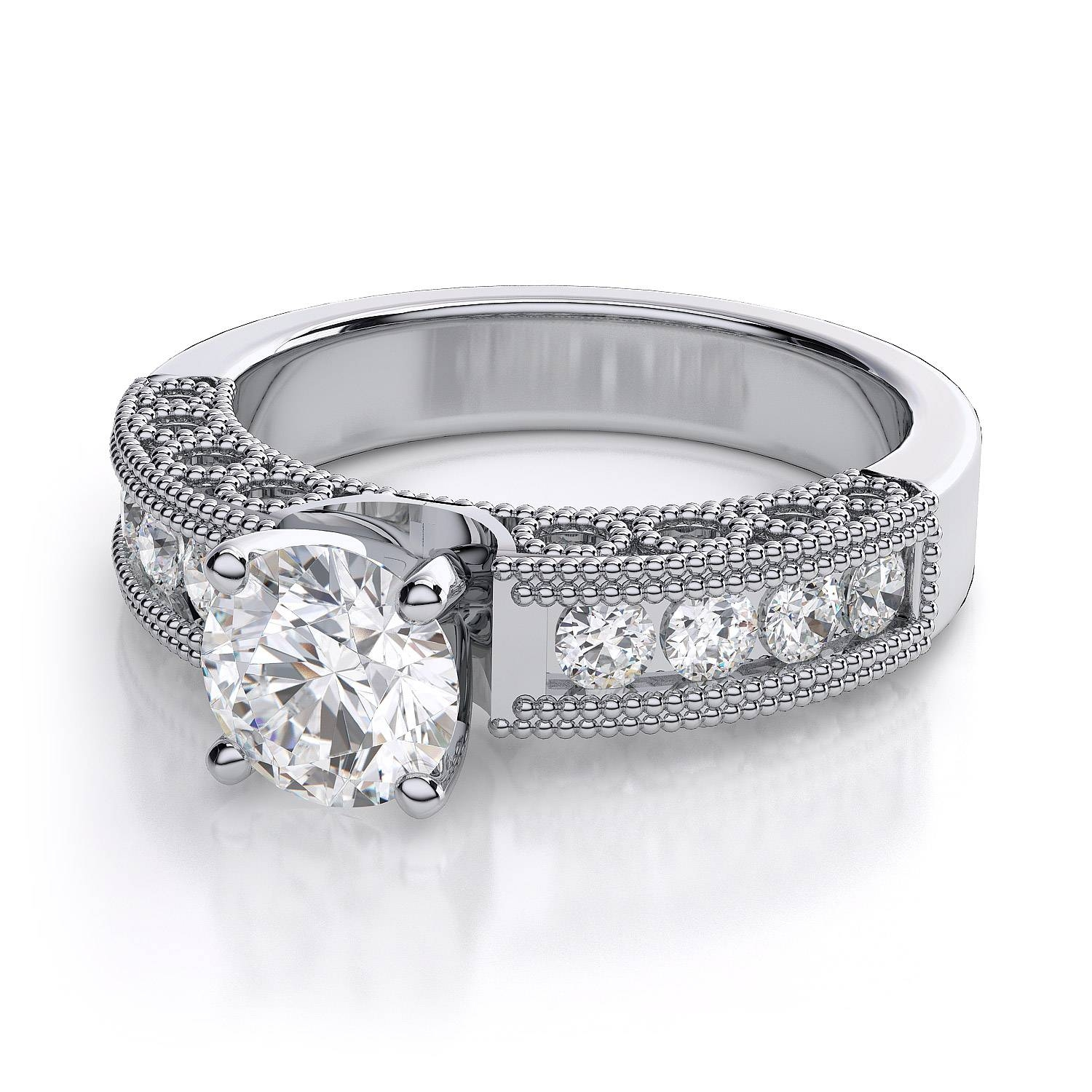 Platinum 0.5 Carat Vintage Diamond Engagement Ring ( (View 14 of 15)