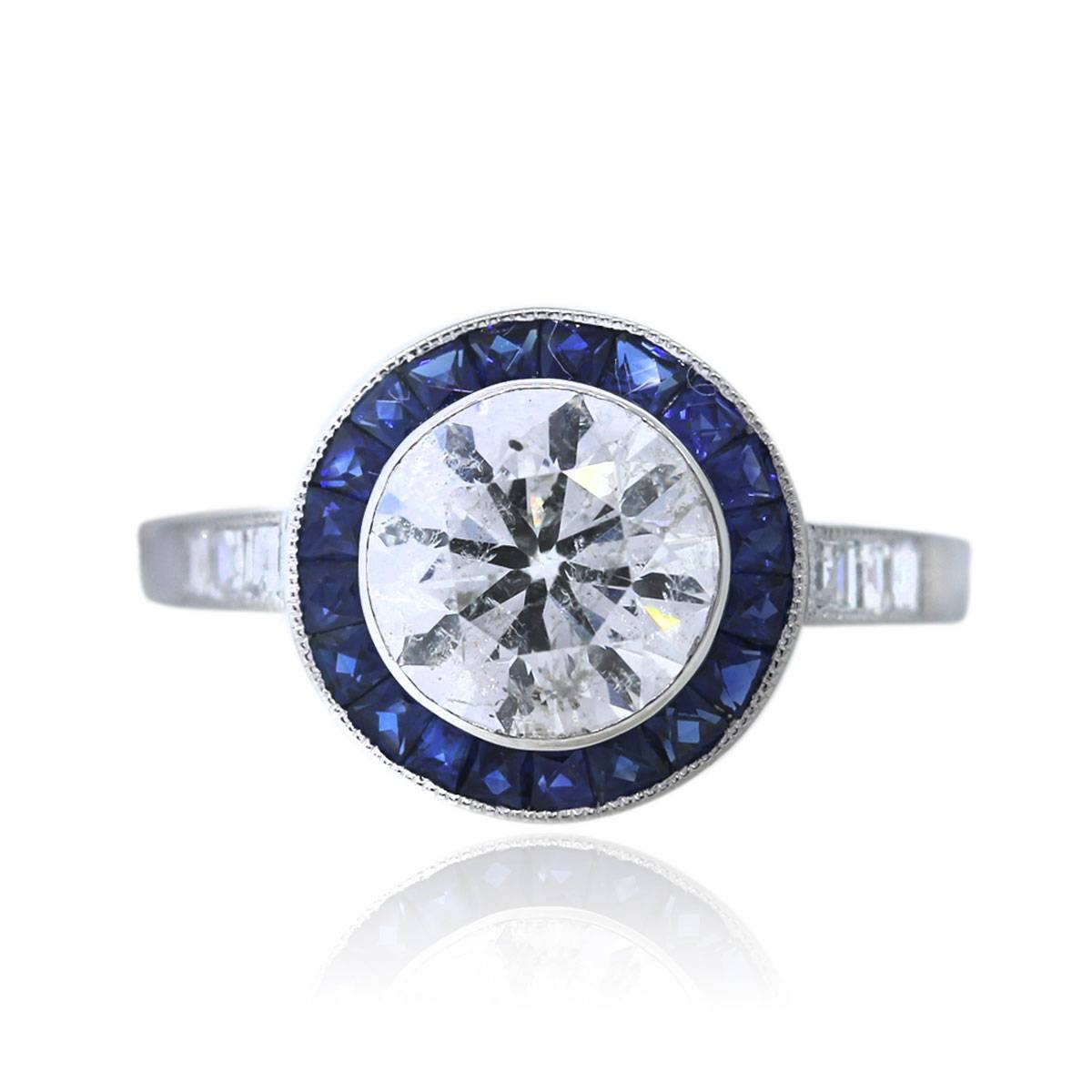 Platinum 2 Carat Round Diamond And Sapphire Engagement Ring Boca Raton Intended For Engagement Rings With Sapphires (View 11 of 15)