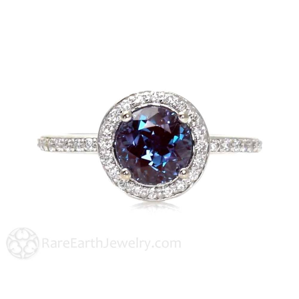 Platinum Alexandrite Ring Diamond Halo Setting Alexandrite For Alexandrite Wedding Bands (View 13 of 15)