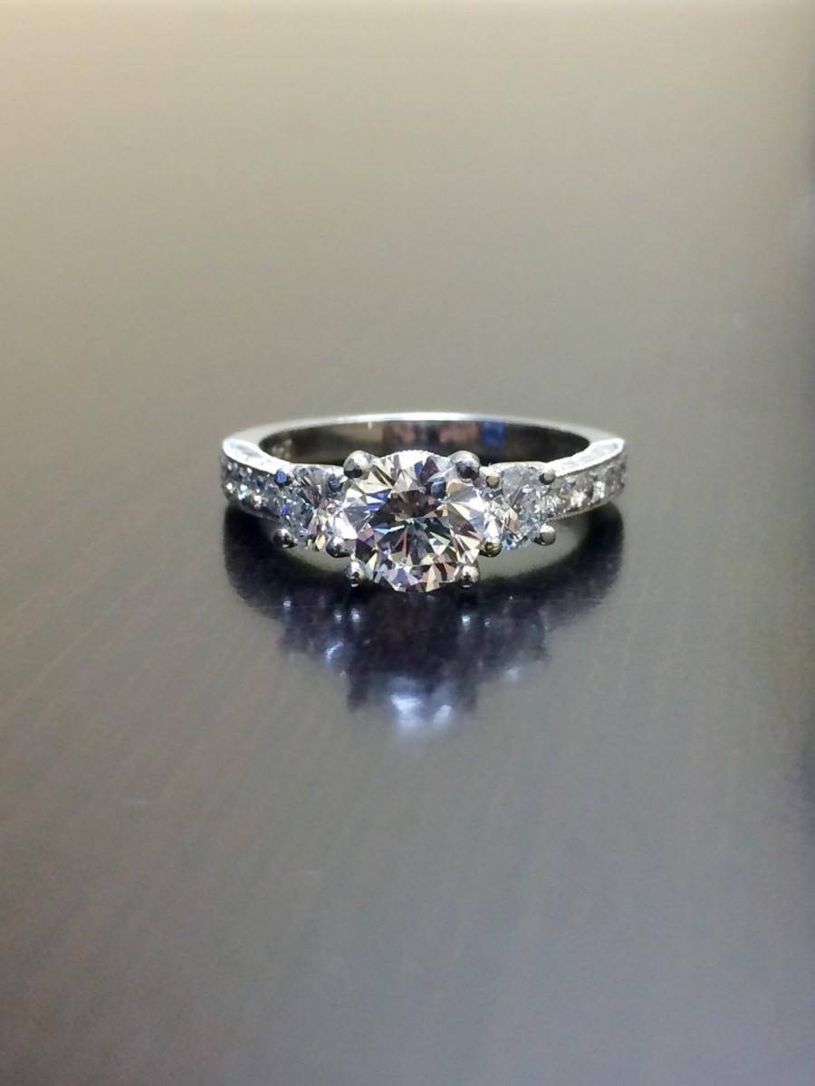 Platinum Gia Diamond Engagement Ring – Art Deco Engraved Platinum With Certified Diamond Wedding Rings (Gallery 8 of 15)