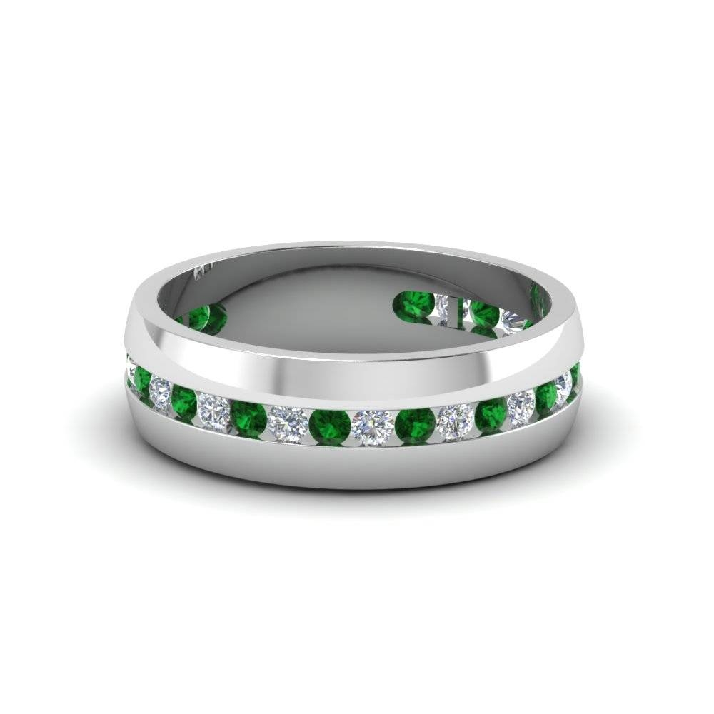 Platinum Green Emerald Men's Wedding Ring | Fascinating Diamonds Intended For Men's Wedding Bands Emerald (View 12 of 15)