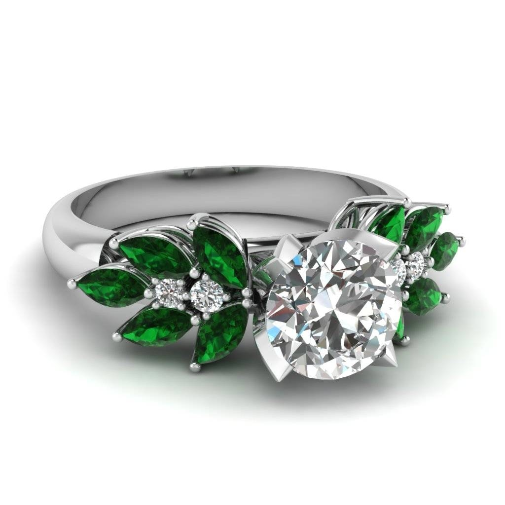 Platinum Green Emerald Side Stone Engagement Rings | Fascinating For Engagement Rings With Emerald (View 8 of 15)