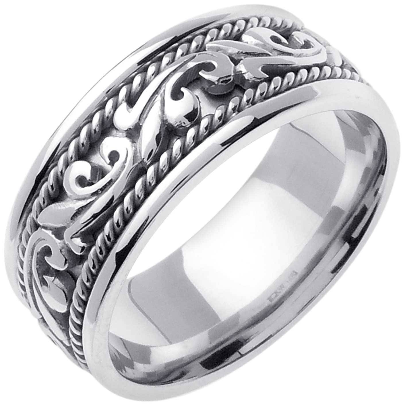 Platinum Paisley Floral Band 9Mm 3000711 – Shop At Wedding Rings In Unisex Engagement Rings (View 13 of 15)