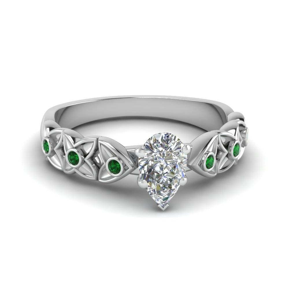 Platinum Pear Shaped Bezel Green Emerald Side Stone Engagement Inside Pear Bezel Engagement Rings (View 13 of 15)