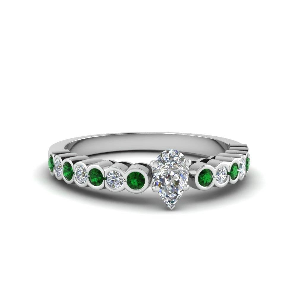 Platinum Pear Shaped Bezel Green Emerald Side Stone Engagement With Pear Bezel Engagement Rings (View 14 of 15)