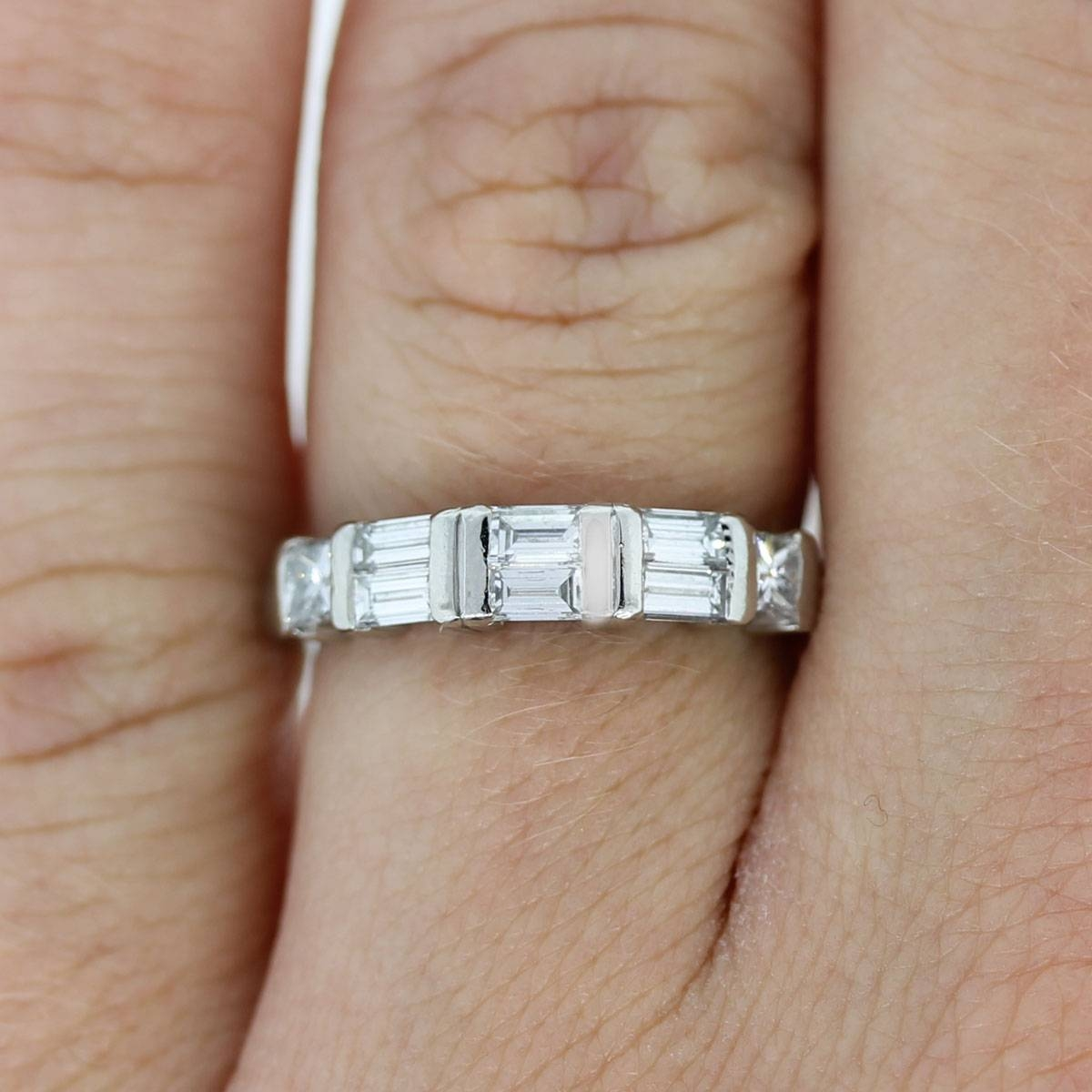 Platinum Princess Cut & Baguette Diamond Wedding Band Ring With Wedding Bands With Baguettes (Gallery 7 of 15)