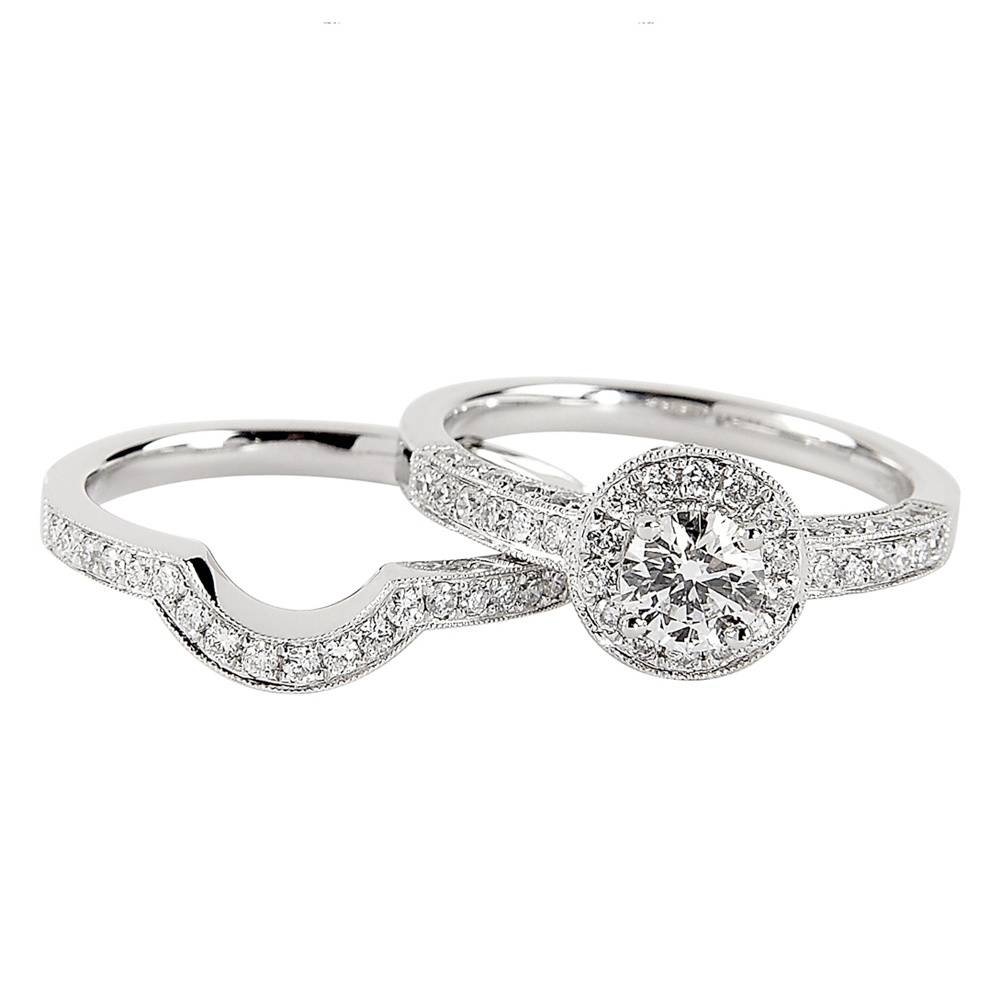 Platinum Solitaire Diamond Engagement Ring & Shaped Wedding Ring Set For Engagement Wedding Rings Sets (View 11 of 15)