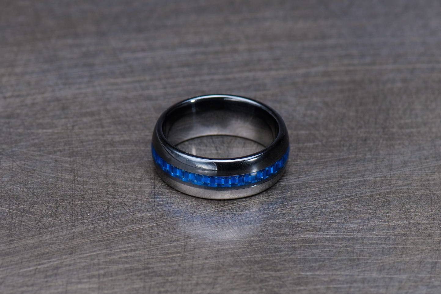 Police Thin Blue Line Ceramic Wedding Band | Hometown Guardians Throughout Thin Blue Line Wedding Bands (Gallery 14 of 15)