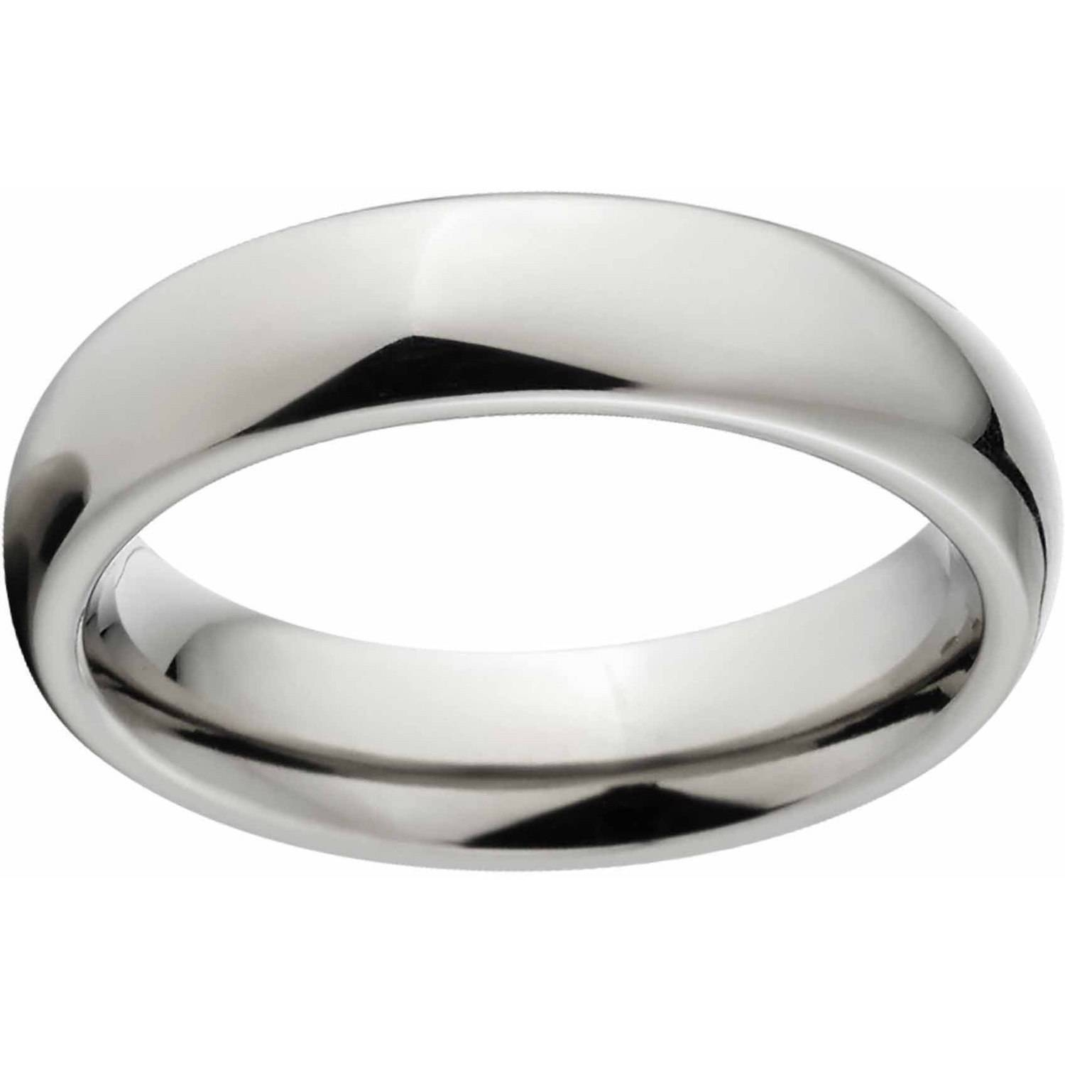 Polished 4mm Titanium Wedding Band With Comfort Fit Design In Titanium Mens Wedding Bands (View 14 of 15)