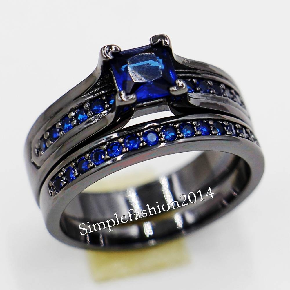 Popular Black And Blue Wedding Ring Sets Buy Cheap Black And Blue For Thin Blue Line Engagement Rings (View 4 of 15)