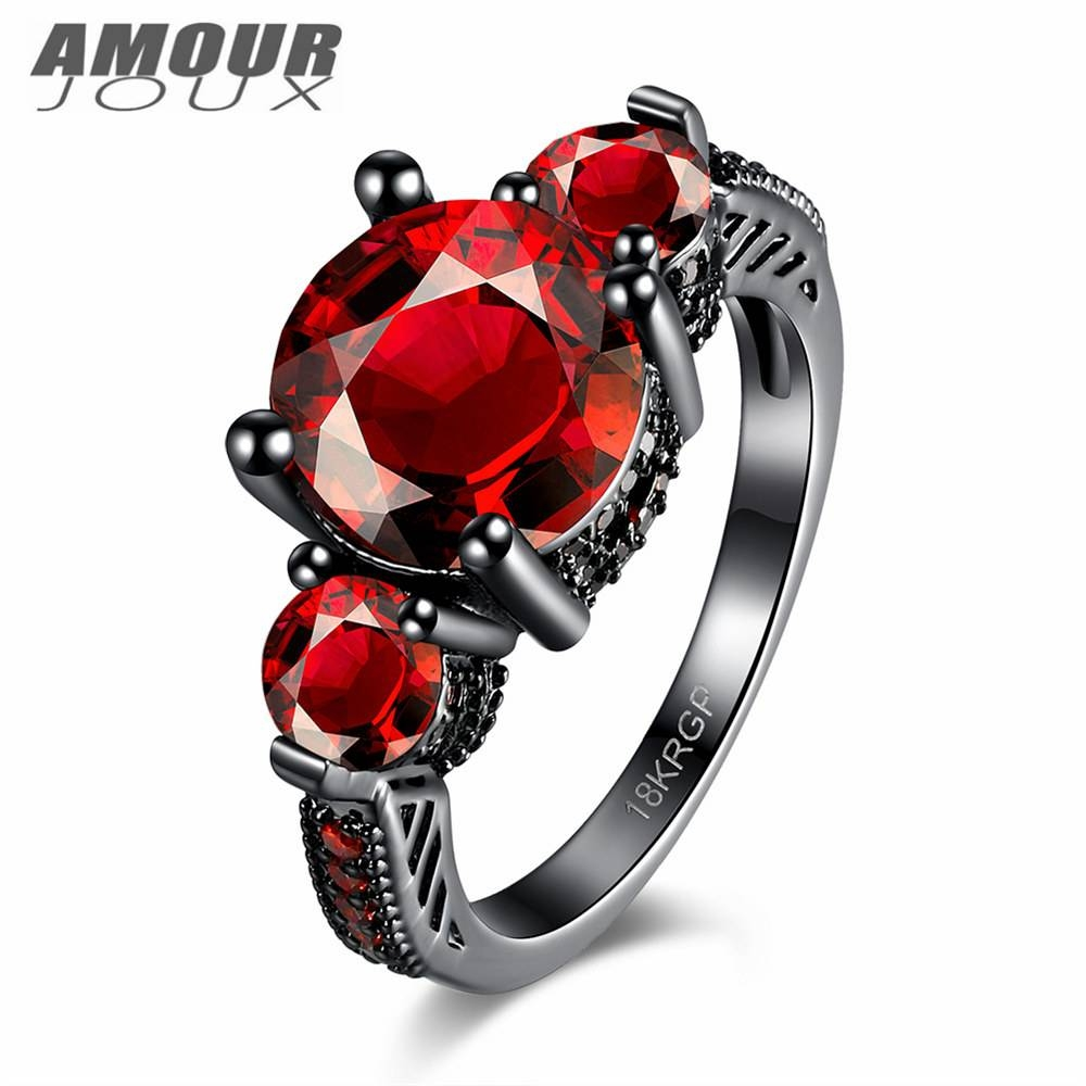 Popular Black And Red Wedding Band Sets Buy Cheap Black And Red In Black And Red Wedding Bands (View 13 of 15)