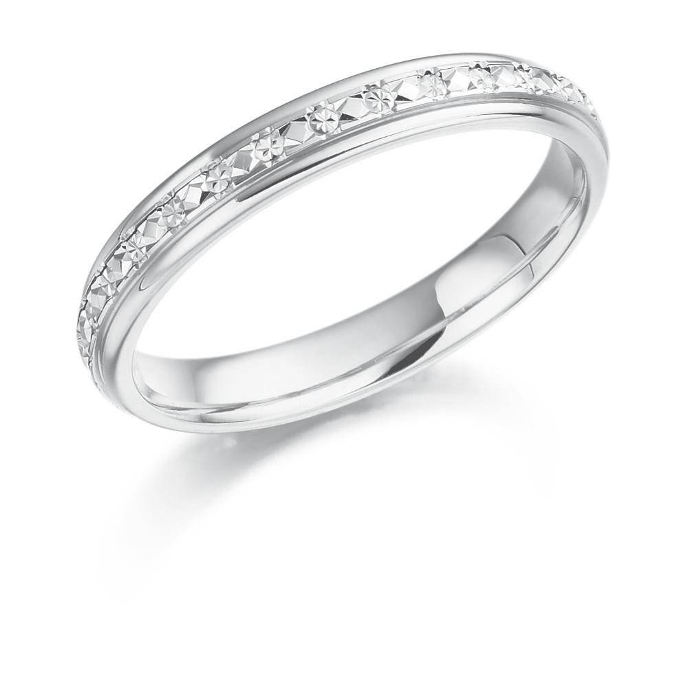 Popular New Wedding Rings: Diamond Cut White Gold Wedding Ring With Regard To White Gold Diamond Cut Wedding Rings (View 5 of 15)