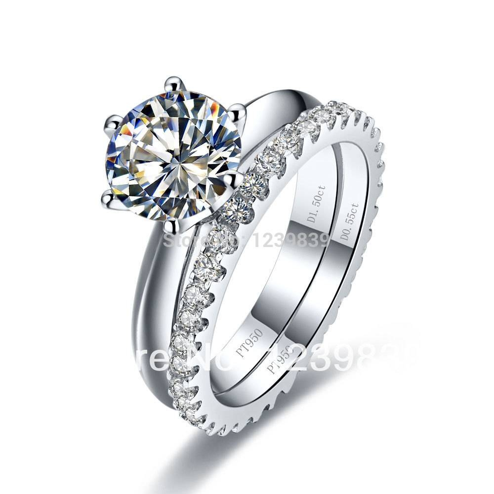 Popular Sterling Silver Diamond Wedding Sets Buy Cheap Sterling Within Platinum Engagement And Wedding Rings Sets (View 9 of 15)