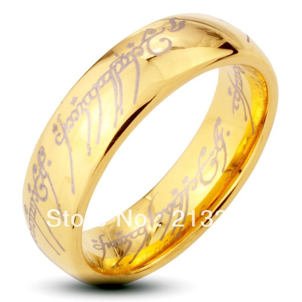 Gold Lord of the Rings Tungsten Carbide Ring