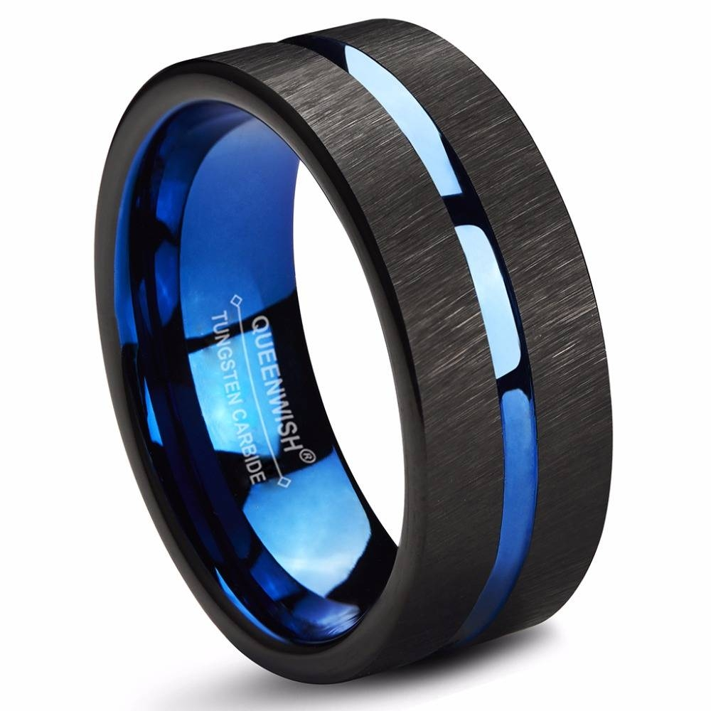 Popular Tungsten Rings Wedding Buy Cheap Tungsten Rings Wedding Intended For Blue Line Wedding Bands (View 10 of 15)