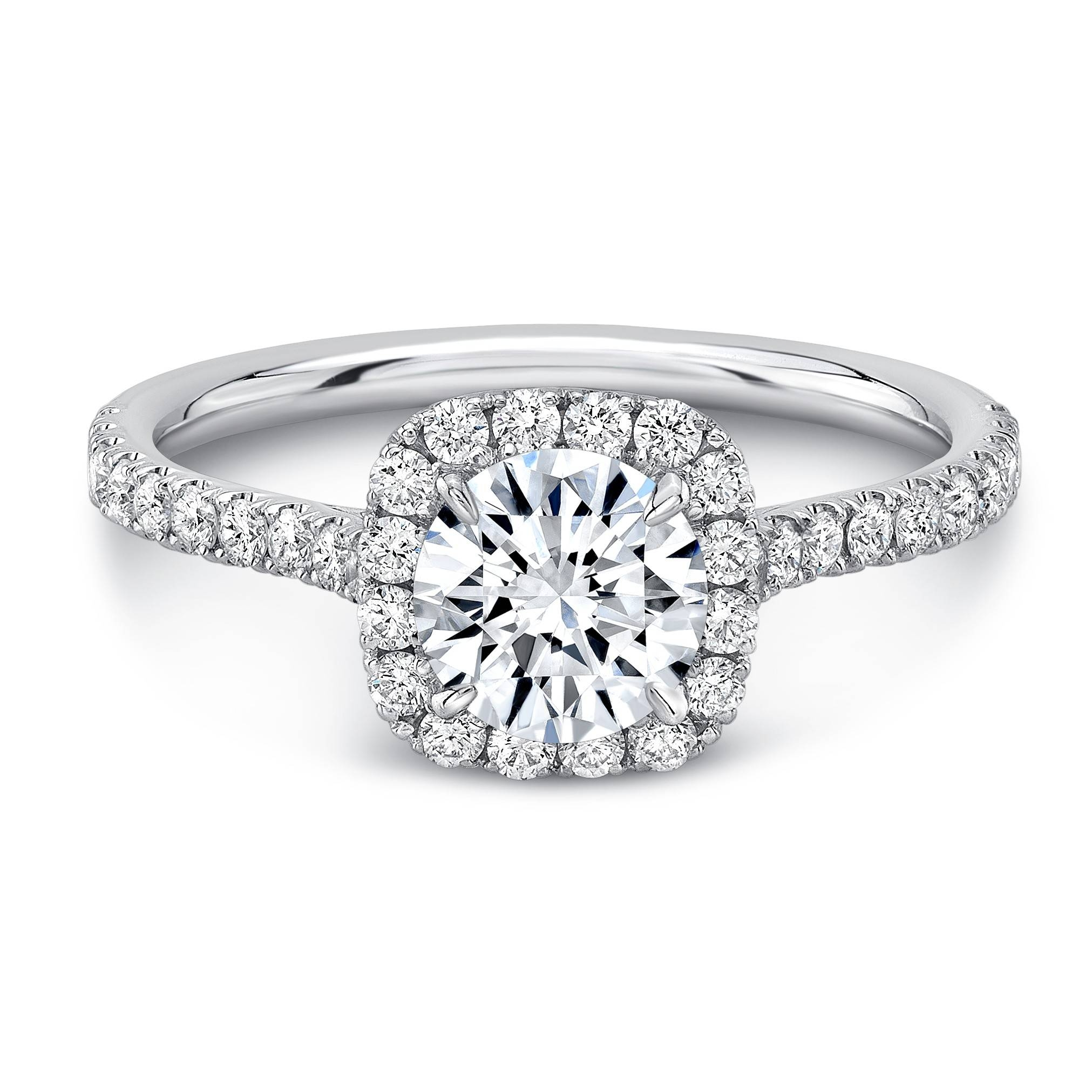 Preset 0.70 Carat G/si1 Round Center, Square Halo Diamond In Pre Set Engagement Rings (Gallery 4 of 15)