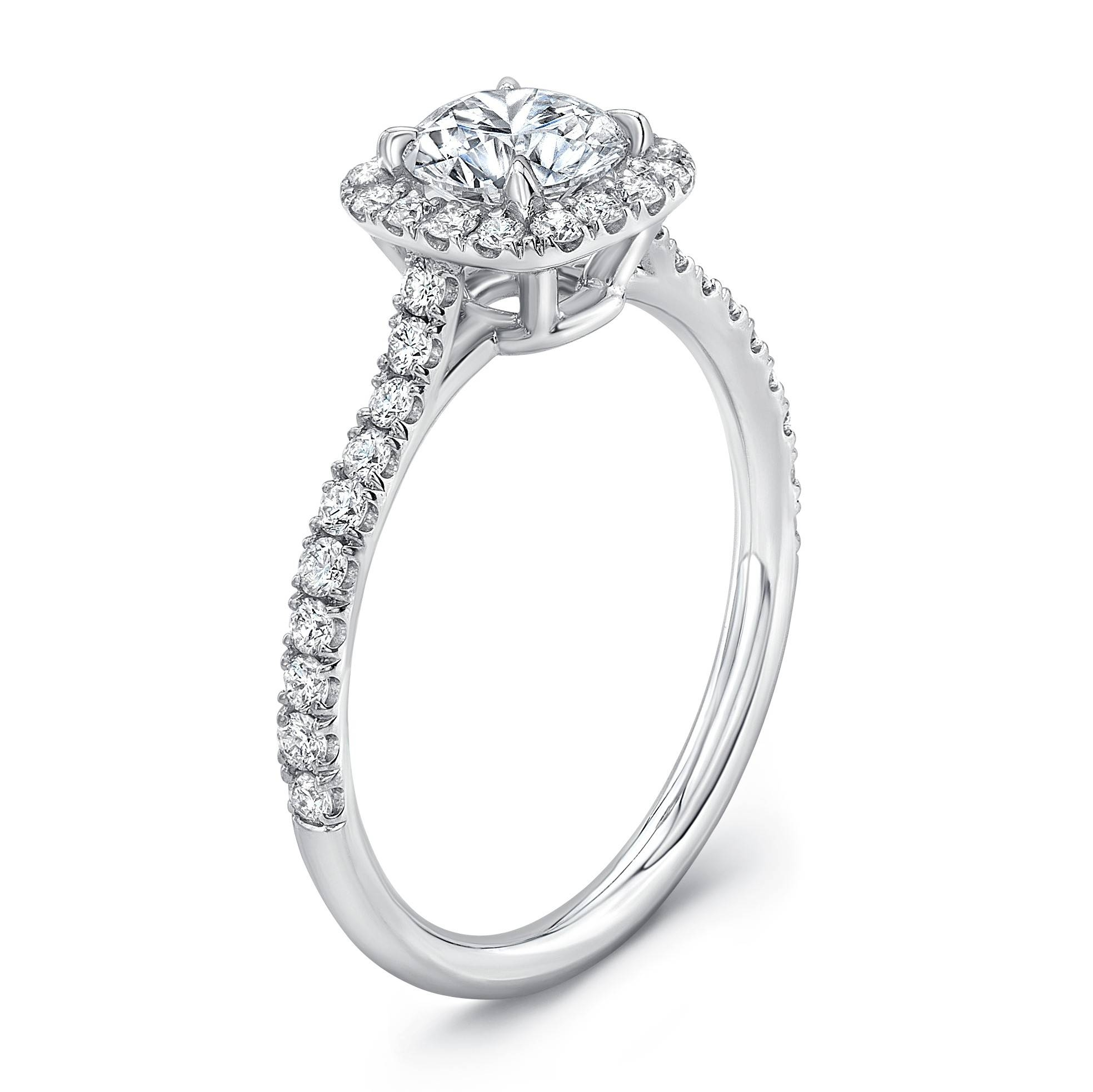 Preset 0.70 Carat G/si1 Round Center, Square Halo Diamond Intended For Preset Engagement Rings (Gallery 10 of 15)