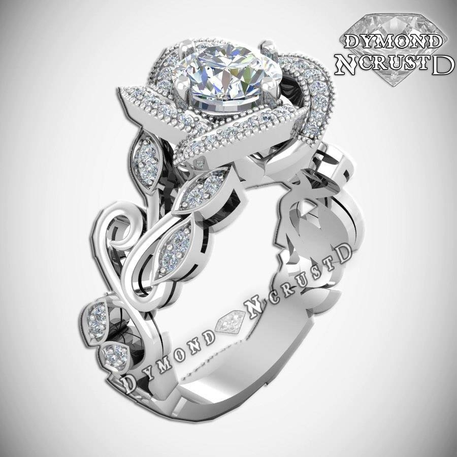 Princess Belle Inspired Rose Flower Swarovski Sterling Silver Inside Disney Themed Engagement Rings (View 13 of 15)