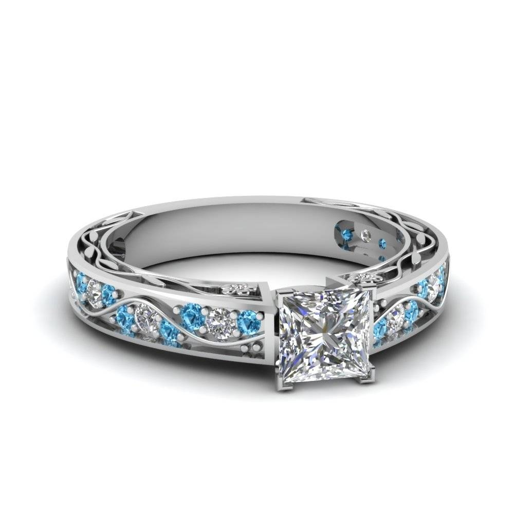 Princess Cut Antique Filigree Diamond Ring With Ice Blue Topaz In Intended For Wave Engagement Rings (View 7 of 15)