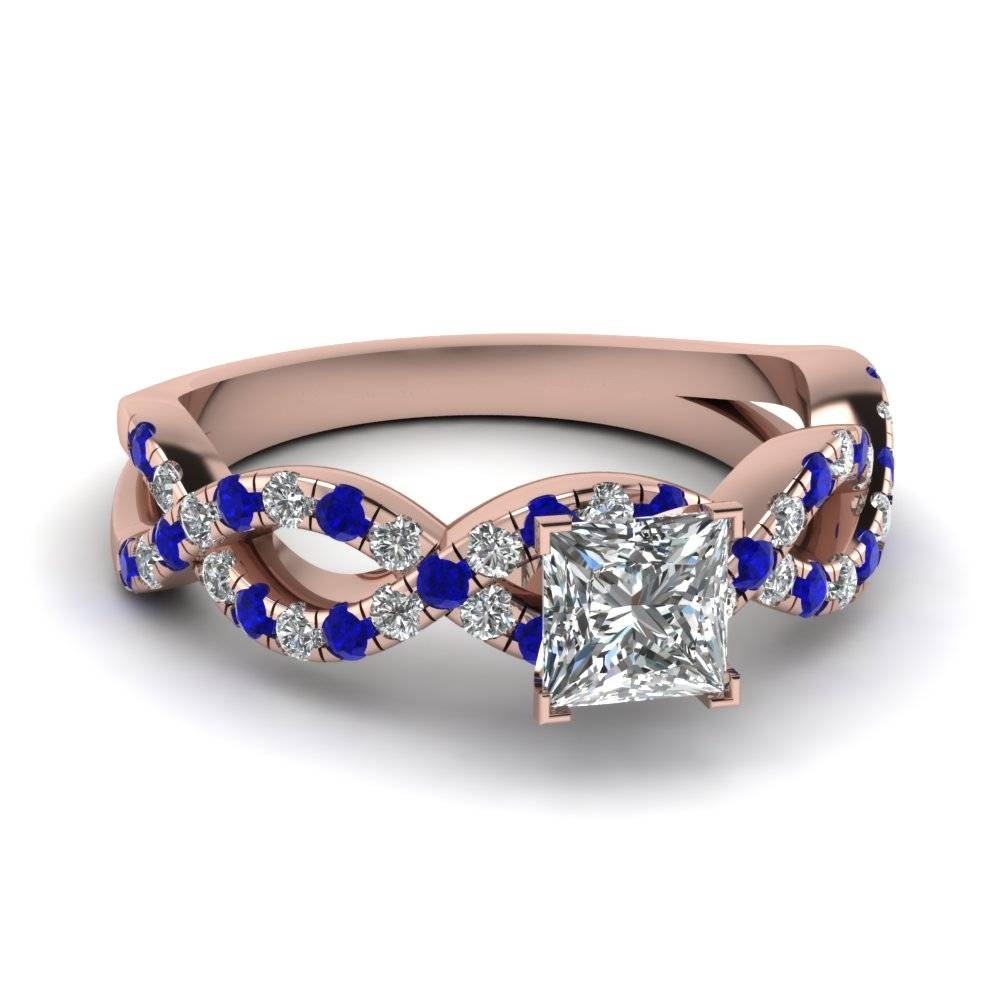 Princess Cut Blue Sapphire Side Stone Engagement Rings For Wedding Rings With Diamonds And Sapphires (View 11 of 15)