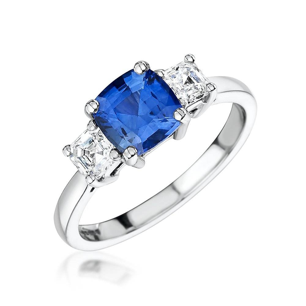 Princess Cut Diamond And Sapphire Engagement Rings Princess Cut Pertaining To Princess Cut Sapphire Engagement Rings (Gallery 7 of 15)