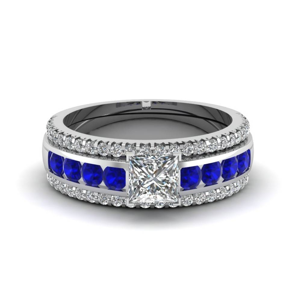 Princess Cut Diamond Channel Set Engagement Ring With Blue Within Engagement Trio Sets (View 12 of 15)