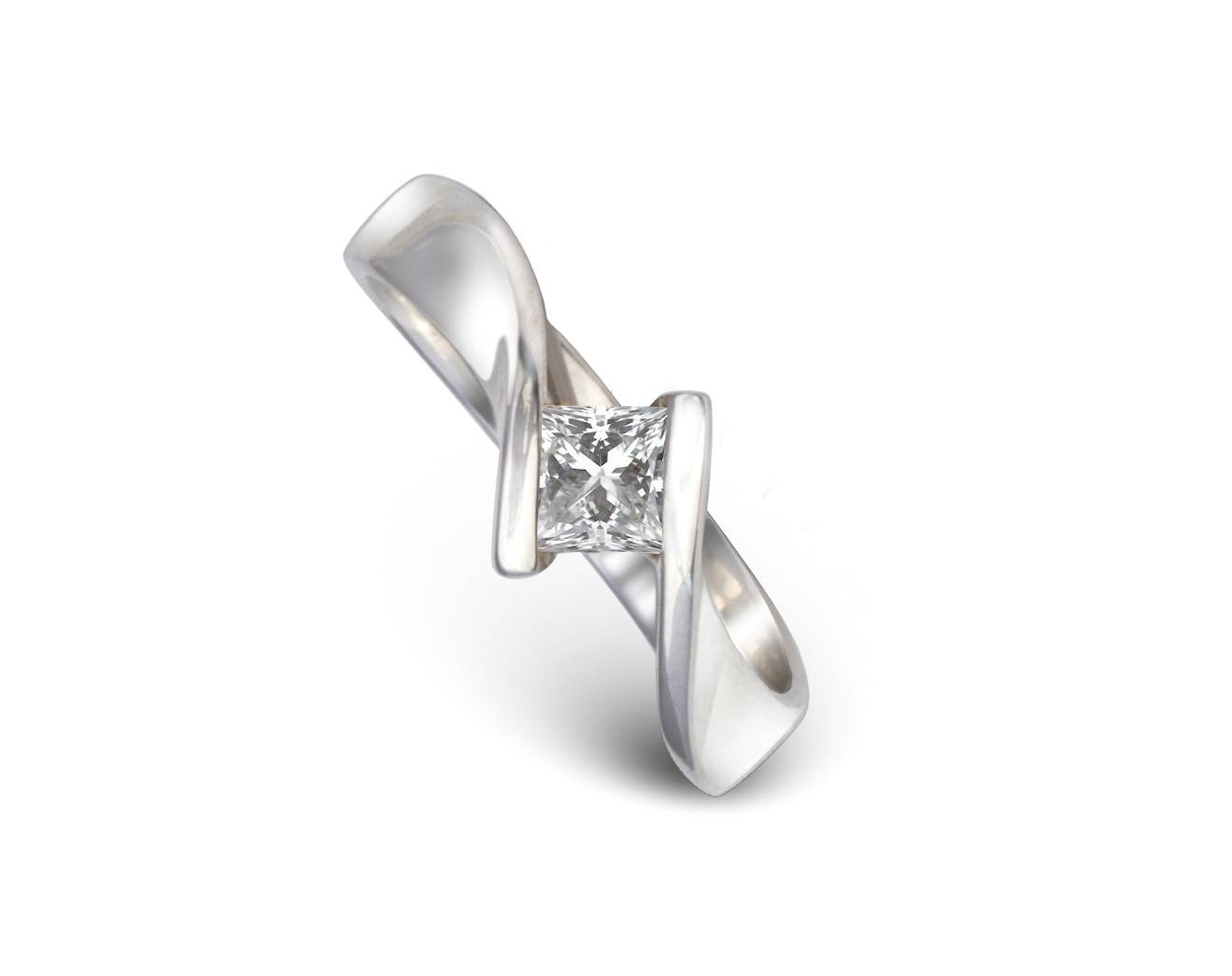 Princess Cut Diamond Engagement Ring Flat Twist – Pruden And Smith For Flat Engagement Rings (View 15 of 15)