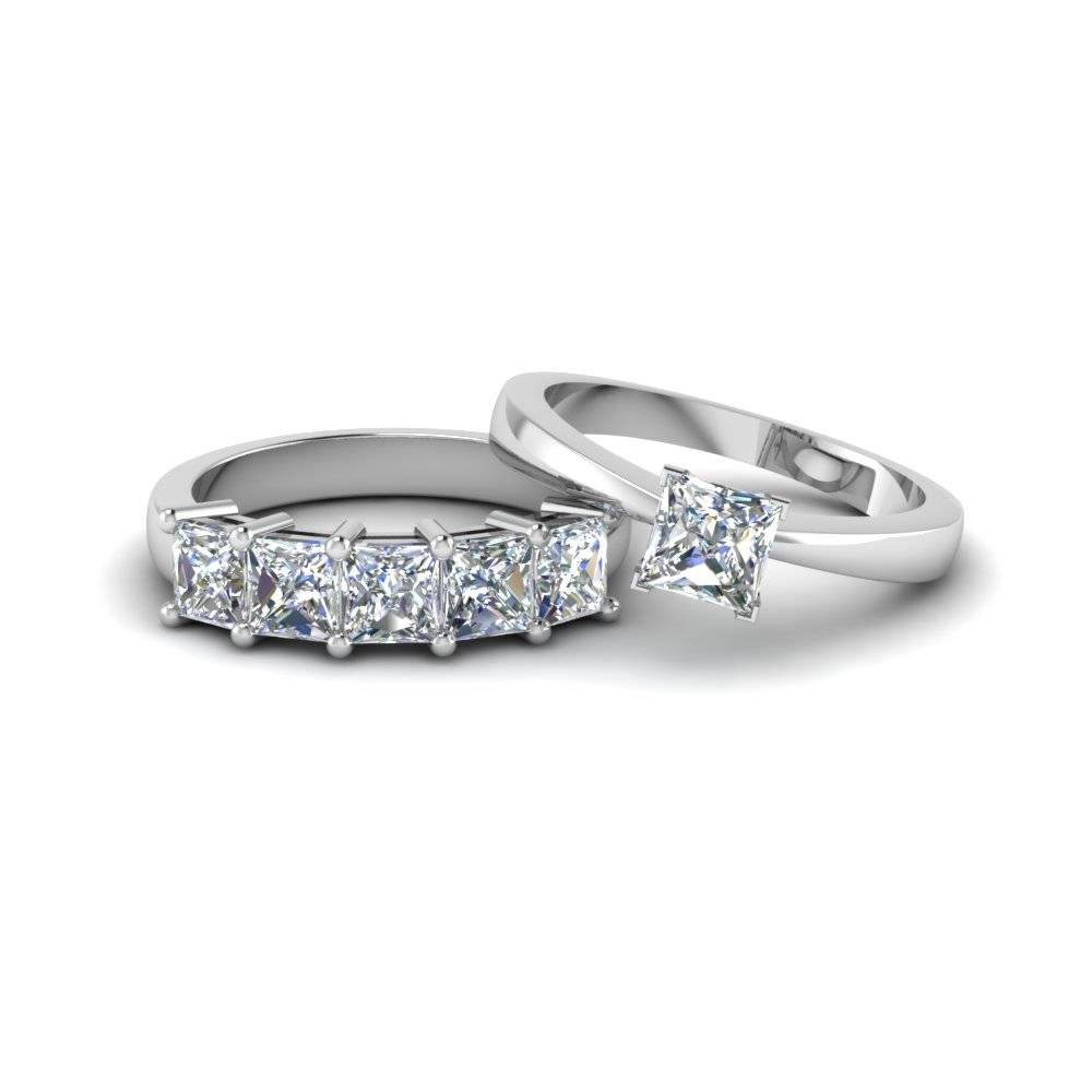Princess Cut Diamond Solitaire Ring With Matching 5 Stone Band In Intended For Princess Cut Diamond Wedding Rings Sets (Gallery 13 of 15)
