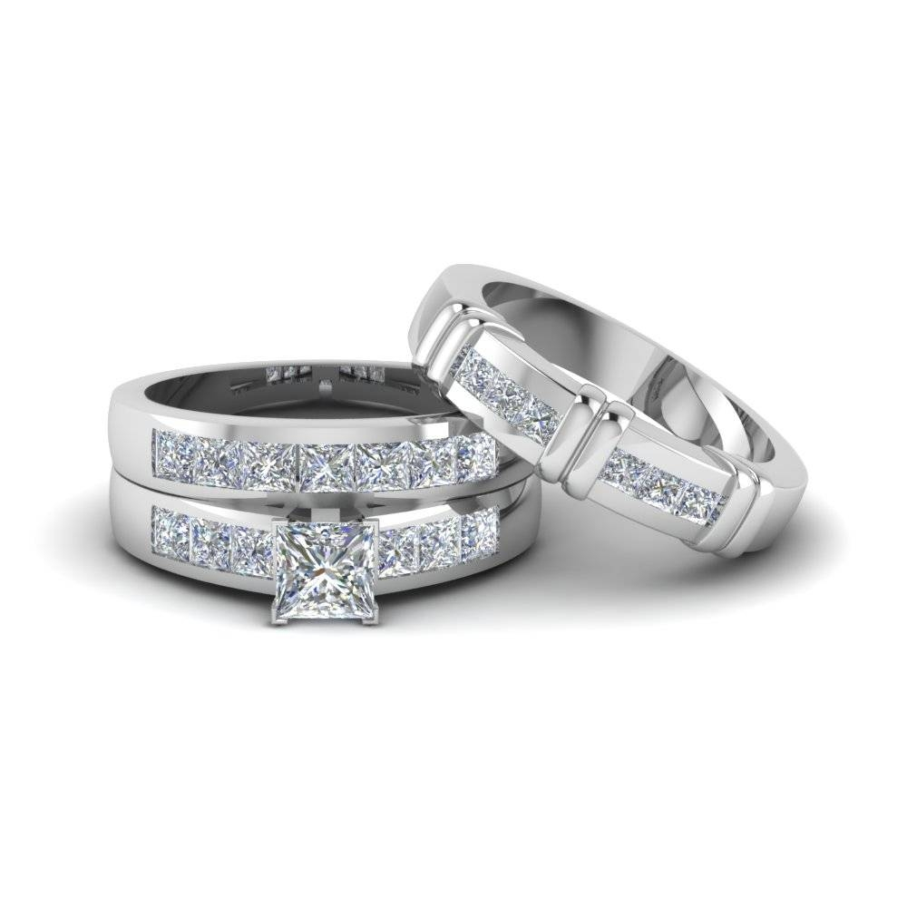 Princess Cut Diamond Trio Matching Ring For Him And Her In 14K With Matching Engagement Rings For Him And Her (Gallery 1 of 15)