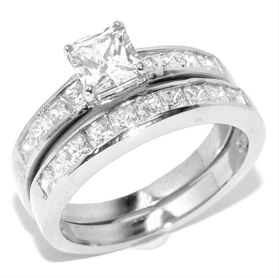 Princess Cut Diamond Wedding Ring Sets Princess Cut Wedding Rings In Princess Cut Diamond Wedding Rings For Women (View 11 of 15)