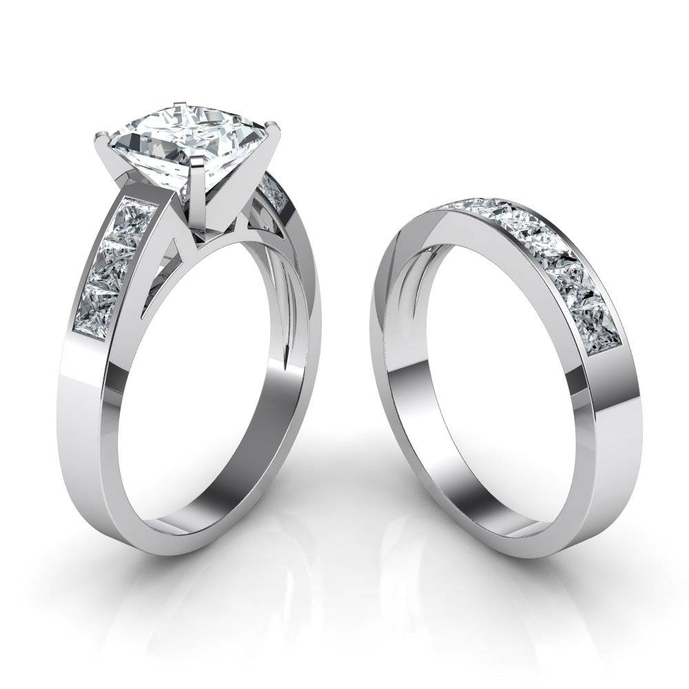 Princess Cut Engagement Ring And Wedding Band Bridal Set Inside Wedding Bands And Engagement Ring Sets (View 11 of 15)