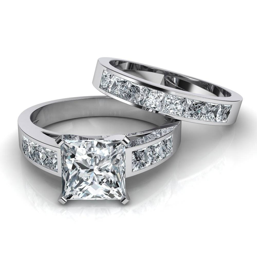 Princess Cut Engagement Ring And Wedding Band Bridal Set Throughout Engagement Rings With Wedding Bands (View 9 of 15)