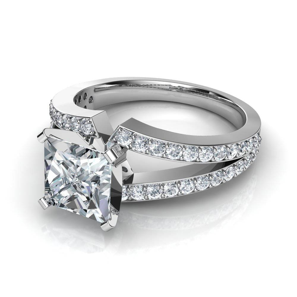 Princess Cut Engagement Rings With Side Diamonds Regarding Princess Engagement Rings (Gallery 8 of 15)