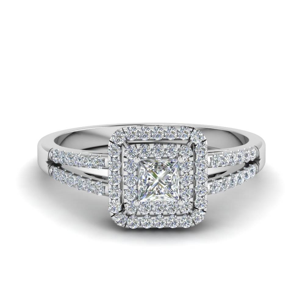 Princess Cut French Pave Double Halo Diamond Engagement Ring In In Princess Engagement Rings For Women (View 12 of 15)