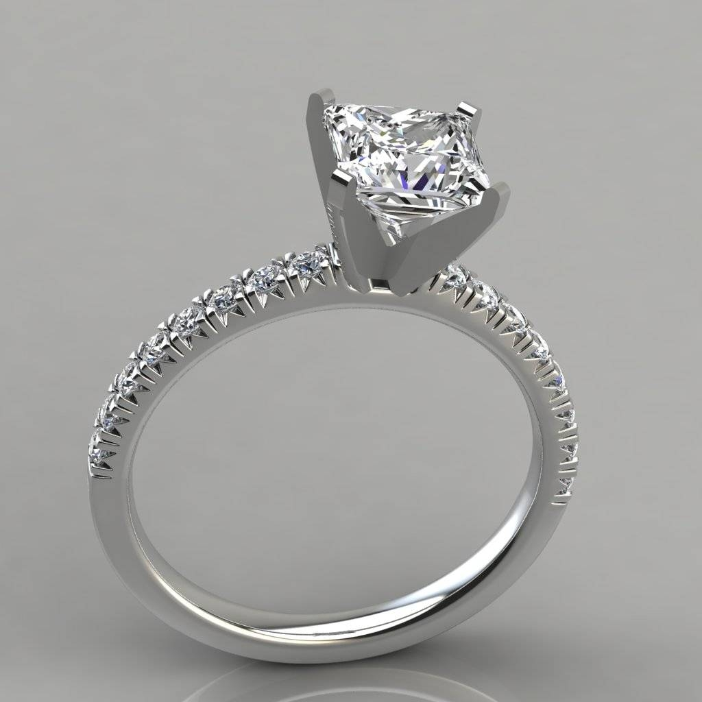 Princess Cut French Pave Engagement Ring 14K White Gold Intended For Pave Wedding Rings (View 9 of 15)