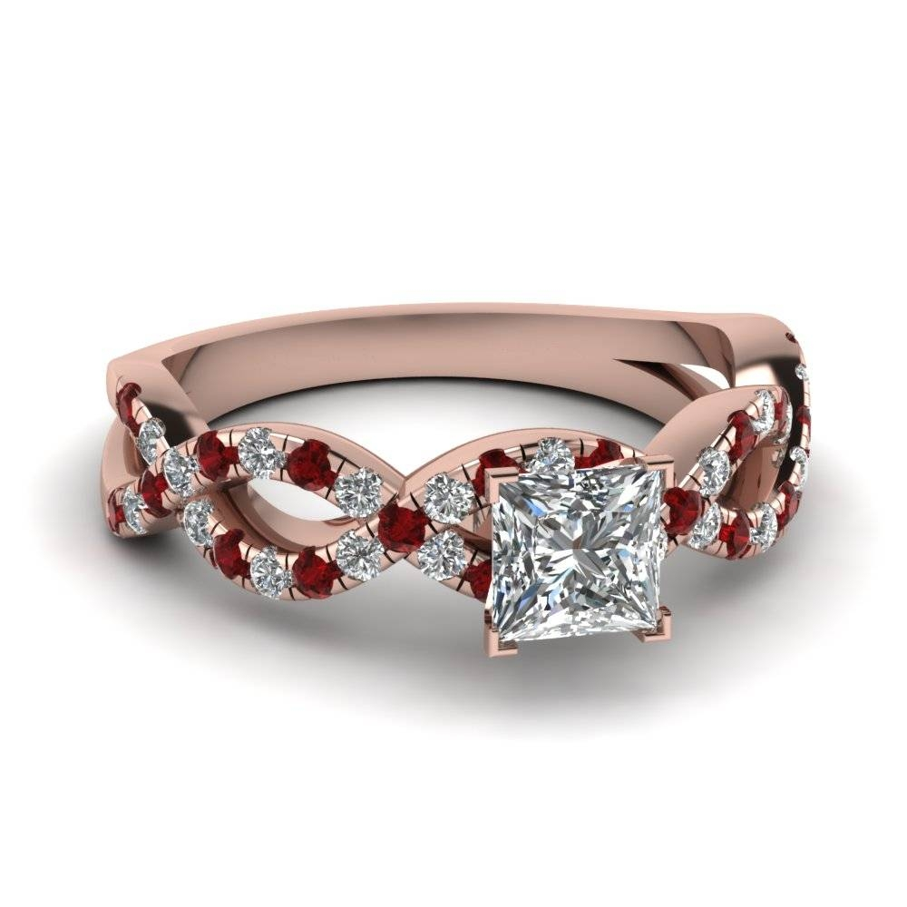 Princess Cut Infinity Diamond Ring With Ruby In 14K Rose Gold Throughout Engagement Rings With Ruby And Diamond (Gallery 1 of 15)