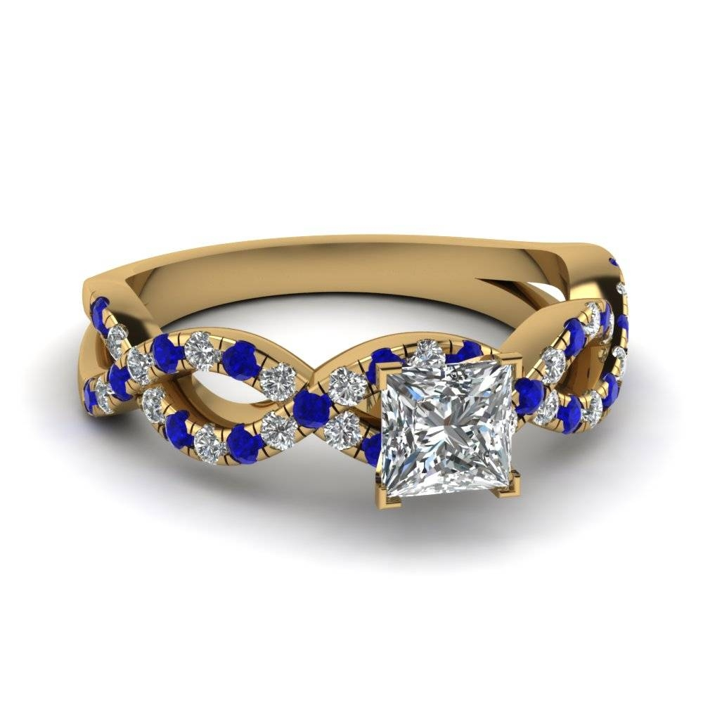 Princess Cut Infinity Diamond Ring With Sapphire In 14K Yellow Regarding Wedding Rings With Sapphire And Diamonds (Gallery 7 of 15)