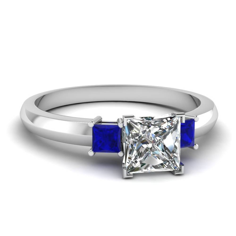 Princess Cut Side Stone Engagement Rings | Fascinating Diamonds With Princess Cut Sapphire Engagement Rings (View 15 of 15)