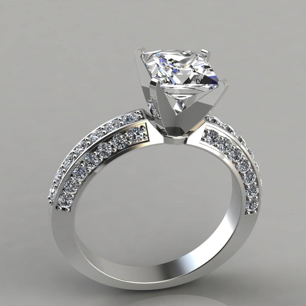 Princess Cut Three Sided Pave Engagement Ring – Puregemsjewels Within Pave Wedding Rings (View 10 of 15)