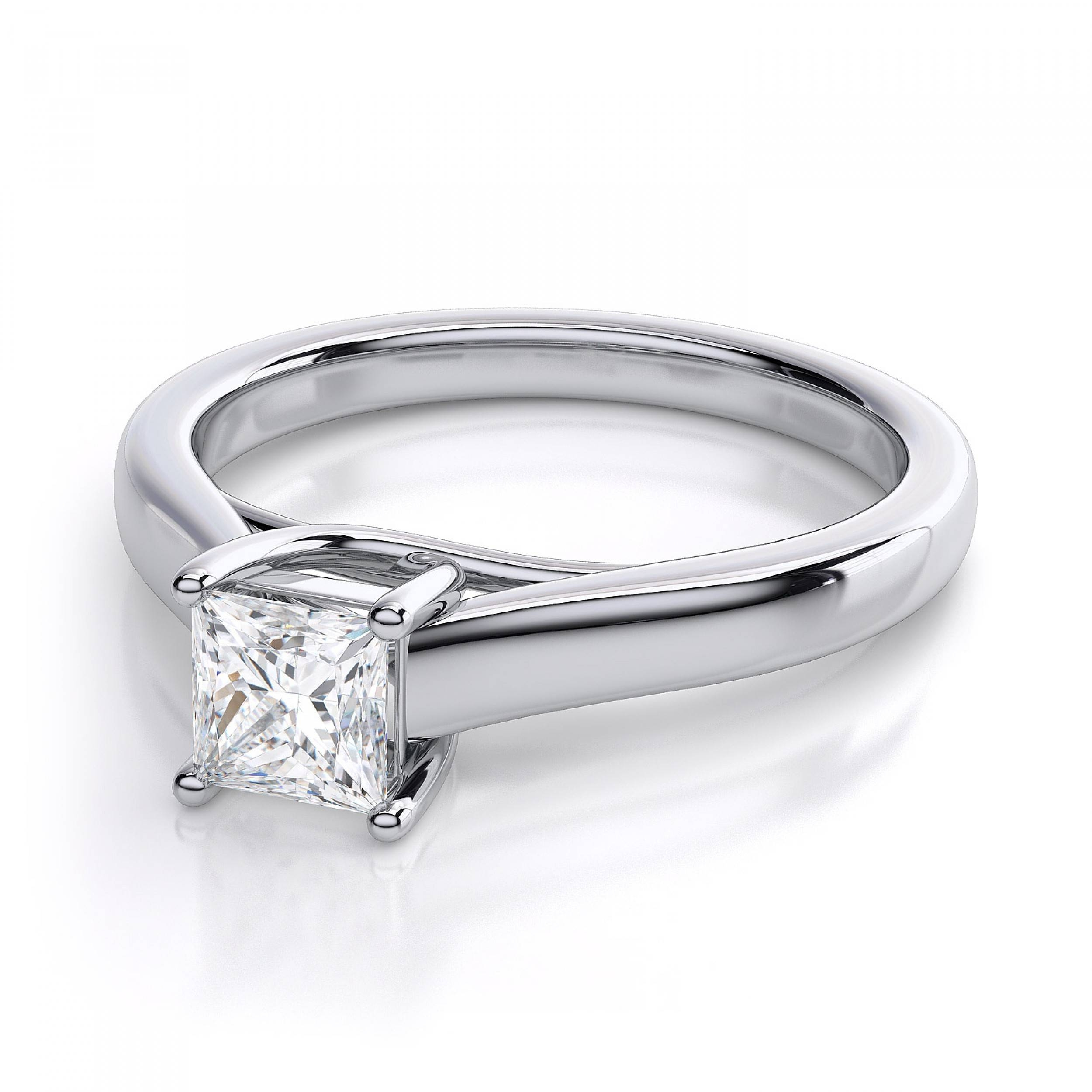 Princess Cut Trellis Solitaire Diamond Engagement Ring In 18k For Engagement Rings 18k White Gold (View 3 of 15)