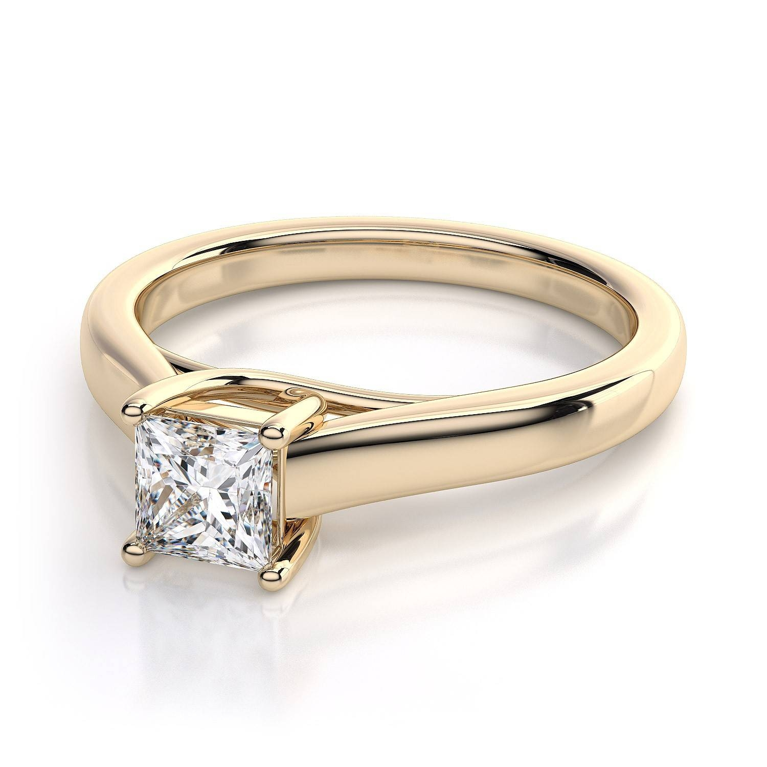 Princess Cut Trellis Solitaire Diamond Engagement Ring In 18K For Engagement Rings 18K Yellow Gold (View 10 of 15)